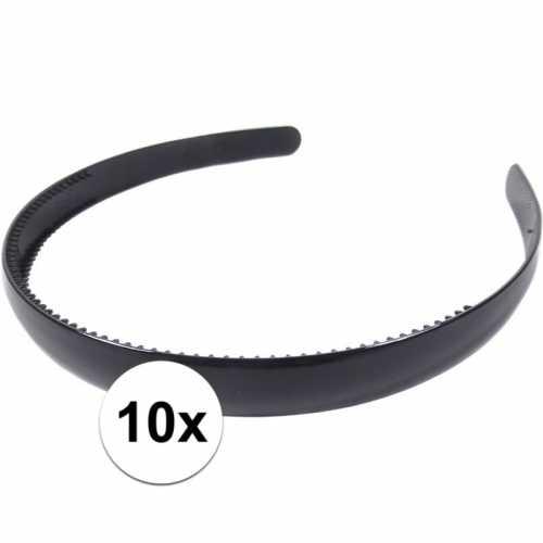 10x zwarte dames diadeem/haarband 1,5 breed