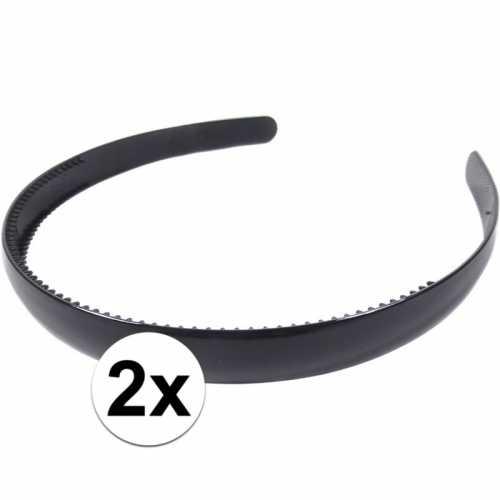2x zwarte dames diadeem/haarband 1,5 breed