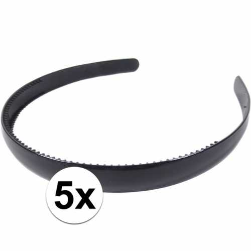 5x zwarte dames diadeem/haarband 1,5 breed