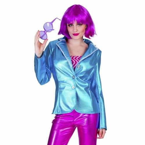 Blauwe 70s disco verkleedkleding jasje dames