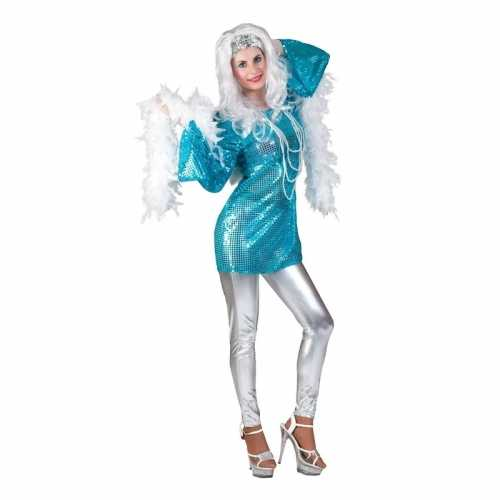 Blauwe 70s disco verkleedkleding jurk dames