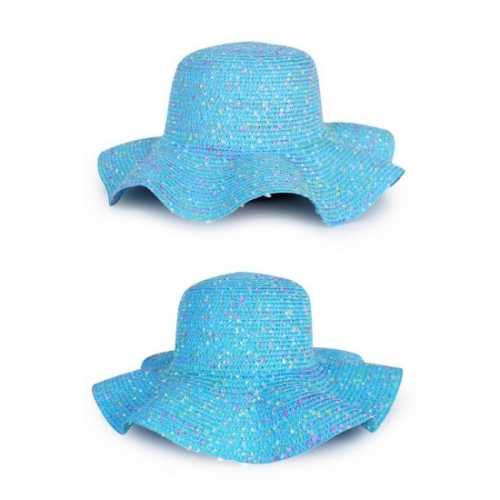 Blauwe flaphoeden van stro