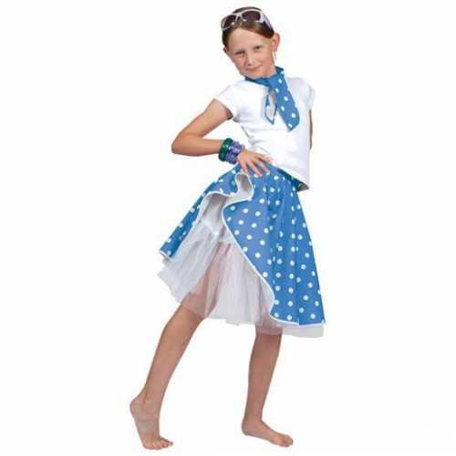 Blauwe rok witte stippen meiden