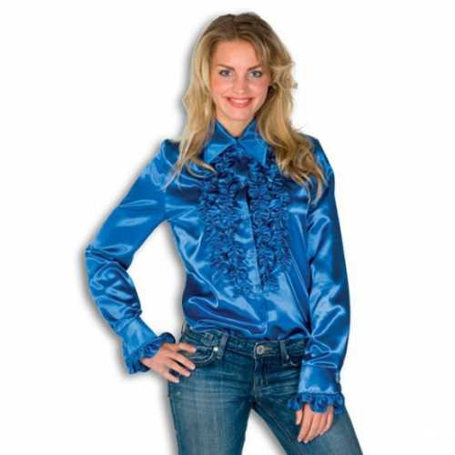 Blouse blauw rouches dames