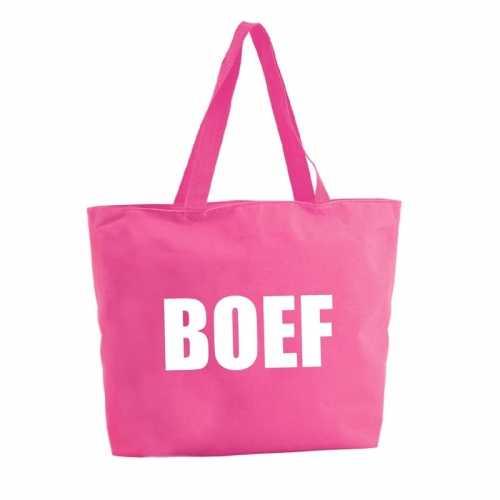 Boef shopper tas fuchsia roze 47
