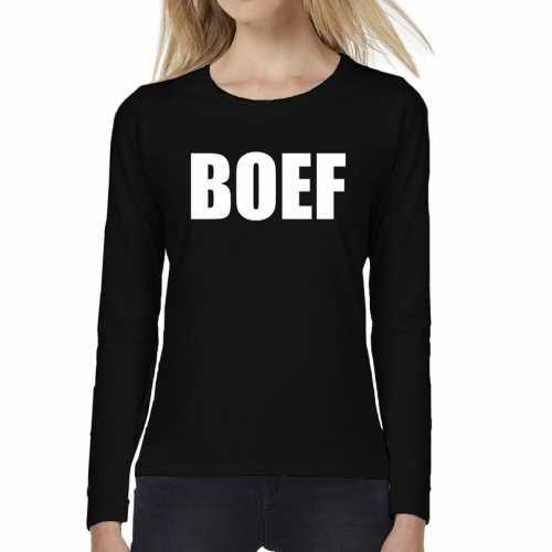 Boef tekst t shirt long sleeve zwart dames