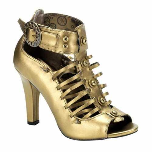 Bronzen steampunk sandalen hak