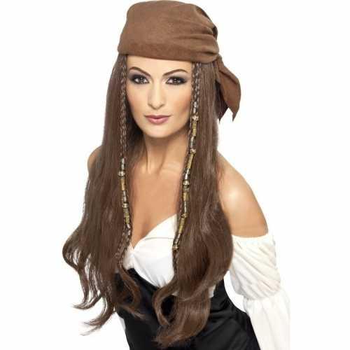 Bruine lange piratenpruik dames