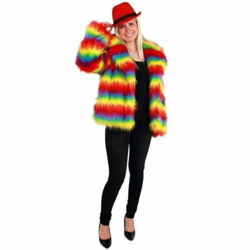 Carnaval bontjas regenboog kleuren dames