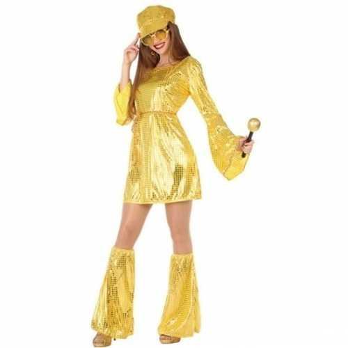 Carnaval disco verkleedkleding gouden pailletten jurkje dames