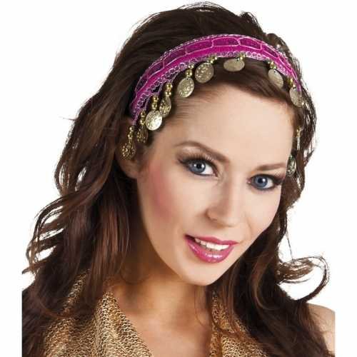 Carnaval esmeralda buikdanseres hoofdband fuchsia roze dames