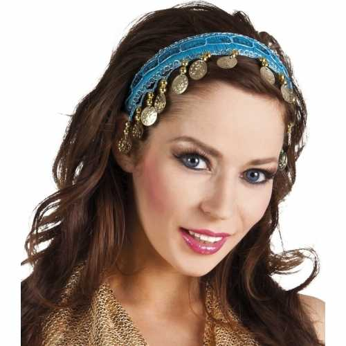 Carnaval esmeralda buikdanseres hoofdband turquoise blauw dames