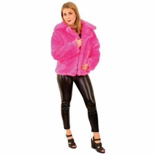 Carnaval nep bontjas neon roze dames