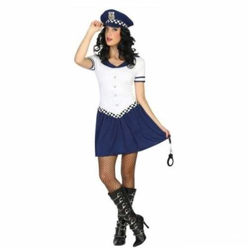 Carnaval politie verkleedkleding blauw/wit dames