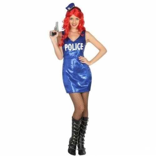 Carnaval politie verkleedkleding glitter jurkje dames