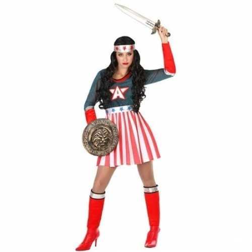 Carnaval superheldin verkleedkleding amerikaaanse kapitein dames