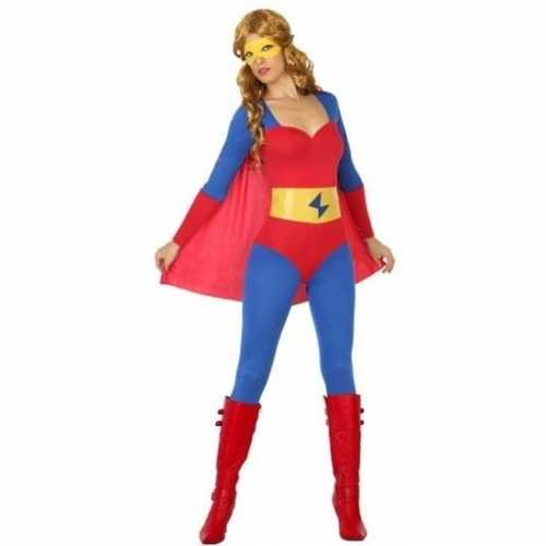 Carnaval superheldin verkleedkleding blauw rood dames
