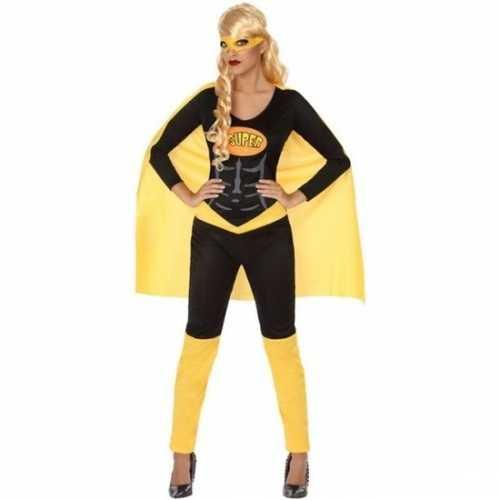 Carnaval superheldin verkleedkleding zwart/geel dames