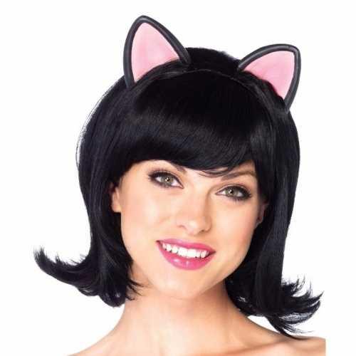 Carnaval zwarte kat poes damespruik oortjes