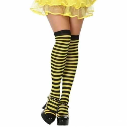 Carnavalaccessoires gestreepte kousen zwart/geel dames