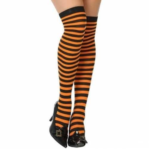 Carnavalaccessoires gestreepte kousen zwart/oranje dames