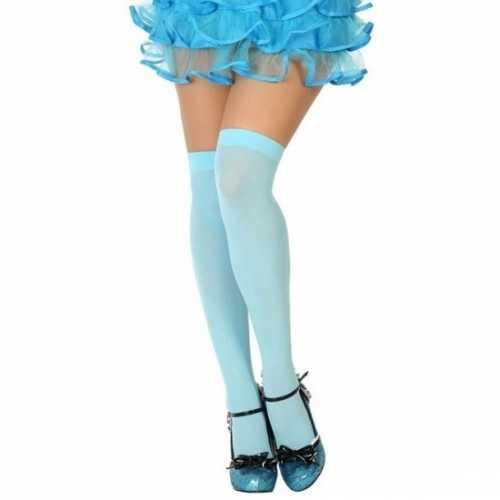Carnavalaccessoires kousen lichtblauw dames
