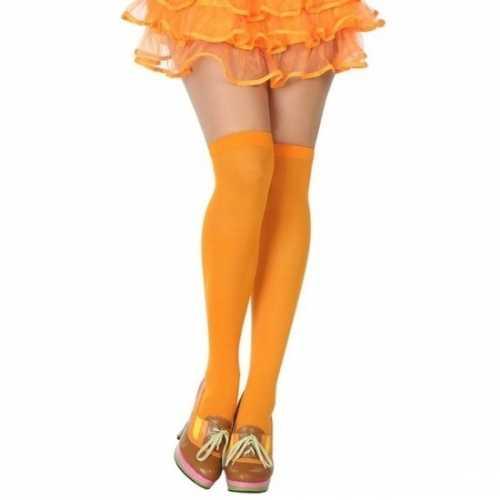 Carnavalaccessoires kousen neon oranje dames