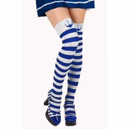Carnavalaccessoires matroos kousen blauw/wit dames