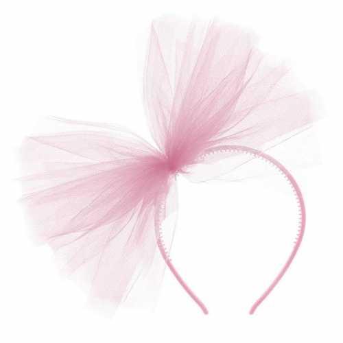 Carnavalaccessoires roze haarband tule strik
