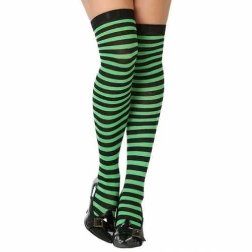 Carnavalaccessoires verkleed gestreepte kousen zwart/groen dames