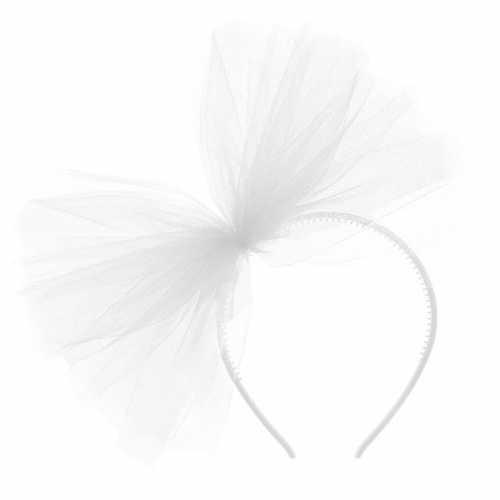 Carnavalaccessoires witte haarband tule strik