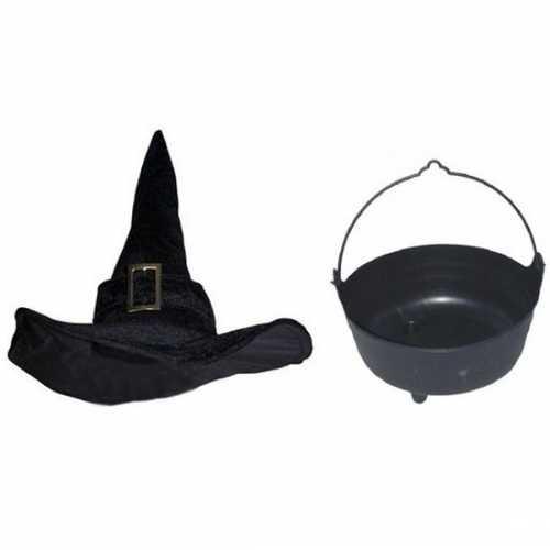 Carnavalskleding heksen accessoires heksenhoed heksenketel dames/volw