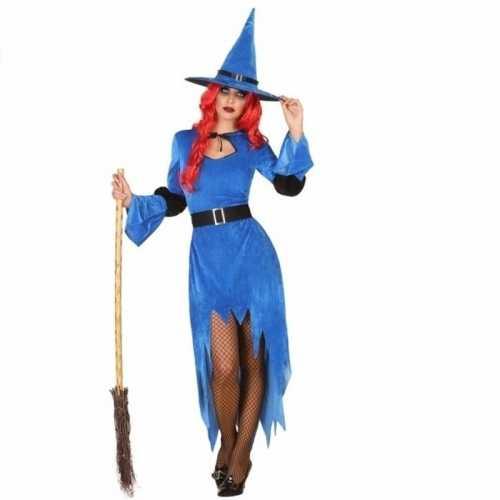 Carnavalsverkleedkleding heksen jurk blauw dames