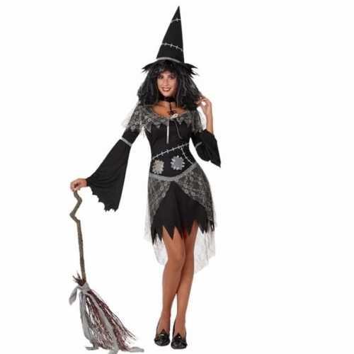 Carnavalsverkleedkleding heksenjurk zwart dames