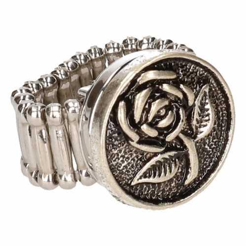 Chunkring zilveren roos volwassenen
