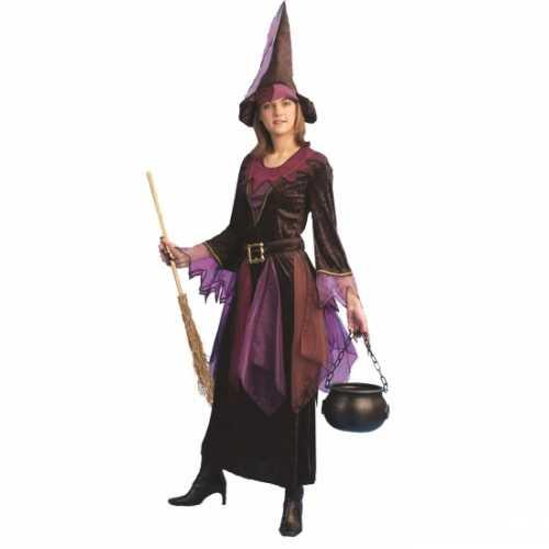 Compleet heksen verkleedkleding paars