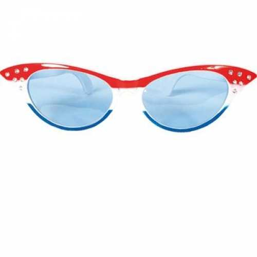 Dames bril rood wit blauw