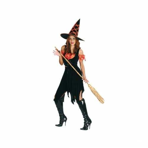 Dames heksenjurk zwart oranje