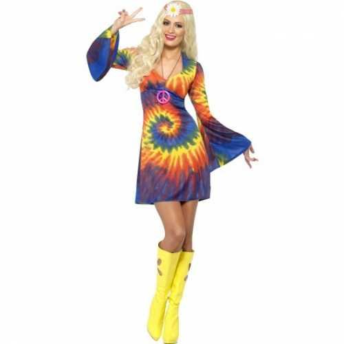 Dames jaren 60 tie dye jurk