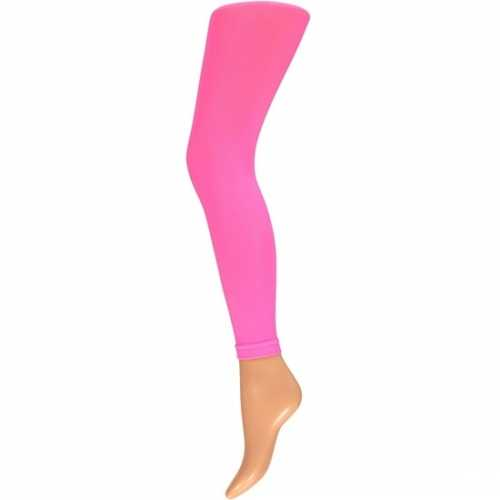 Dames party legging 200 den neon roze