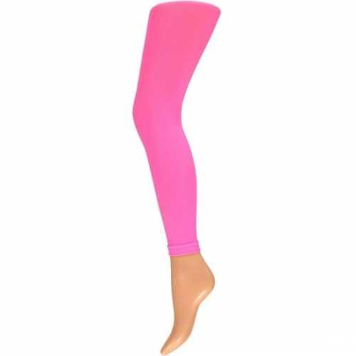 Dames party legging 60 den neon roze