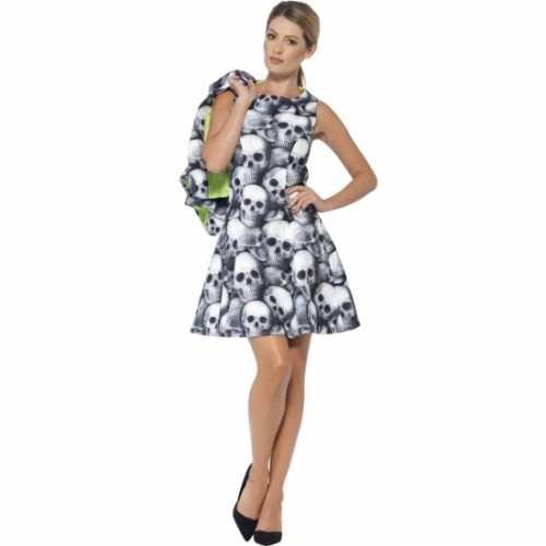 Dames skelet verkleedkleding jurk jasje
