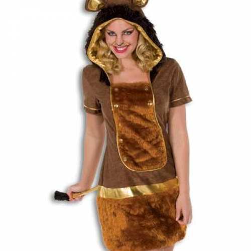 Dames verkleedkleding leeuw kleur bruin
