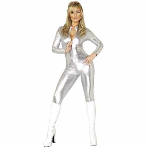 Dameskleding zilveren catsuit