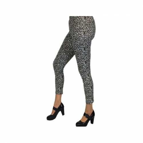 Dameslegging grijze luipaard print