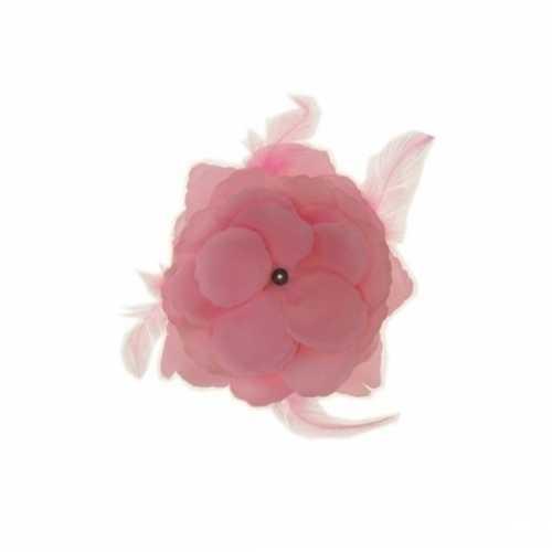 Decoratiebloem elastiek baby roze 10cm