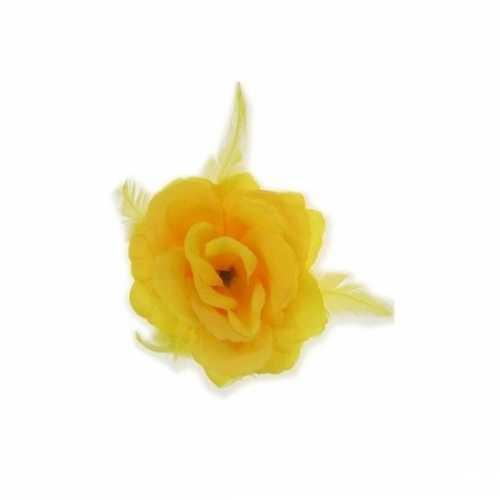 Decoratiebloem elastiek geel 10x10cm