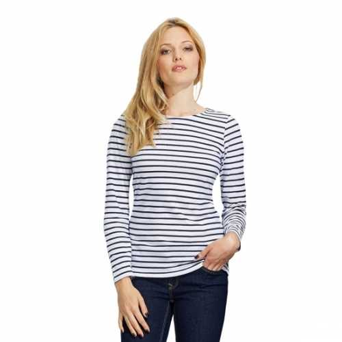 Dorus t shirt wit blauw dames