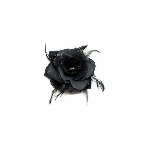 Elastiek zwarte roos glitters veren