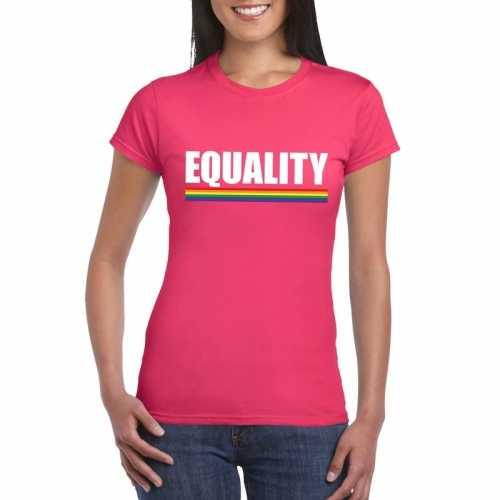 Equality shirt roze regenboog vlag dames